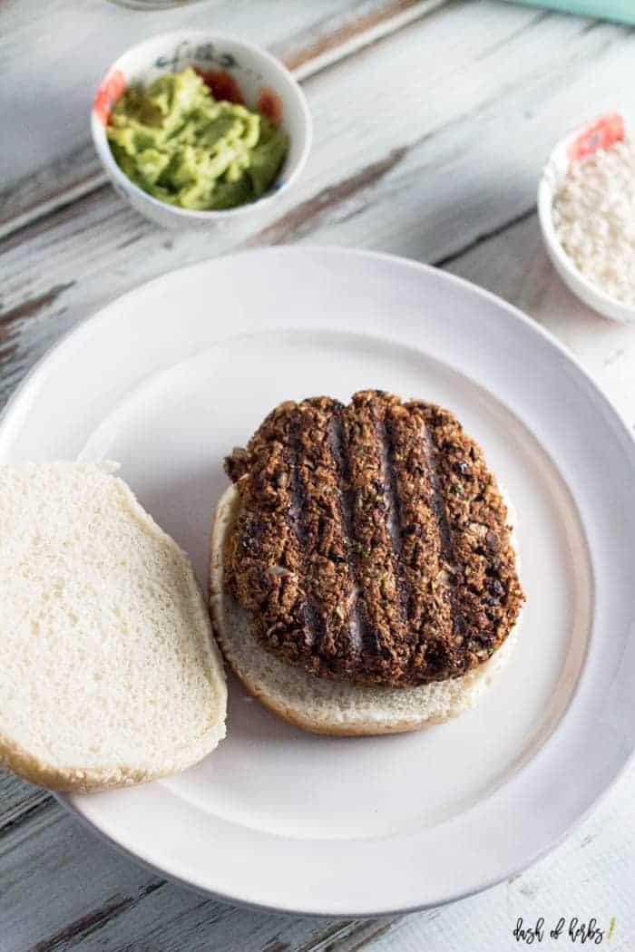 Spicy Black Bean Burger with Guacamole