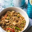 Looking for a healthy chicken fried rice recipe? This one is not only healthy but Weight Watcher approved, and so easy to make.