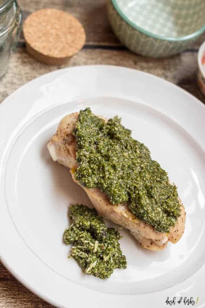 Baked Chicken with Arugula Pesto