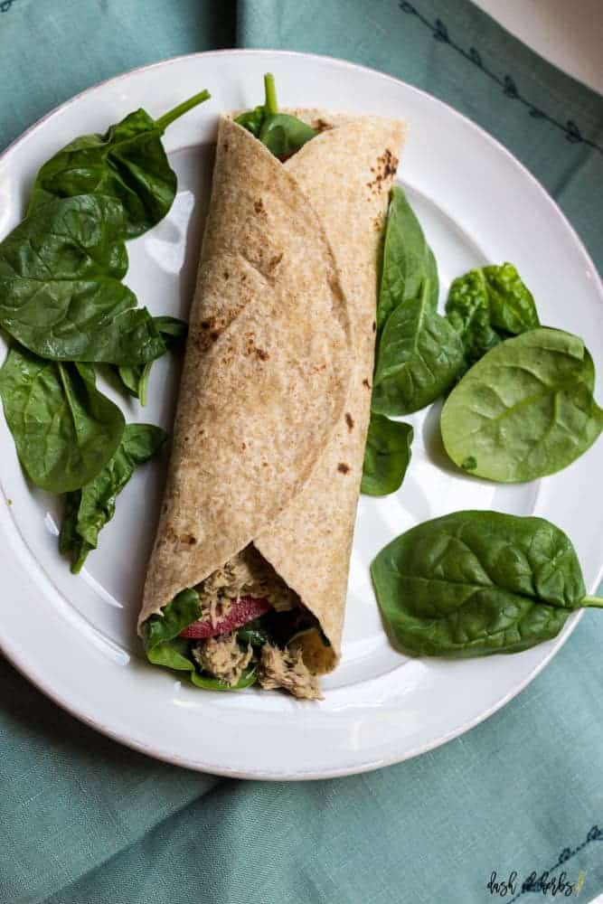 Easy Tuna Salad and Hummus Wrap