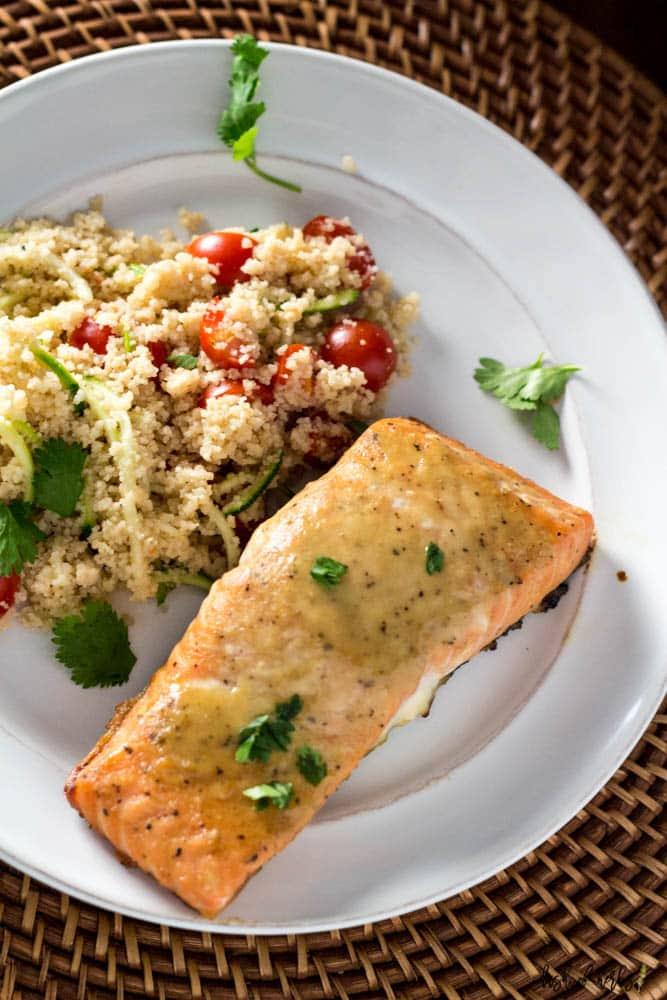 Honey Dijon Salmon with Veggie Couscous