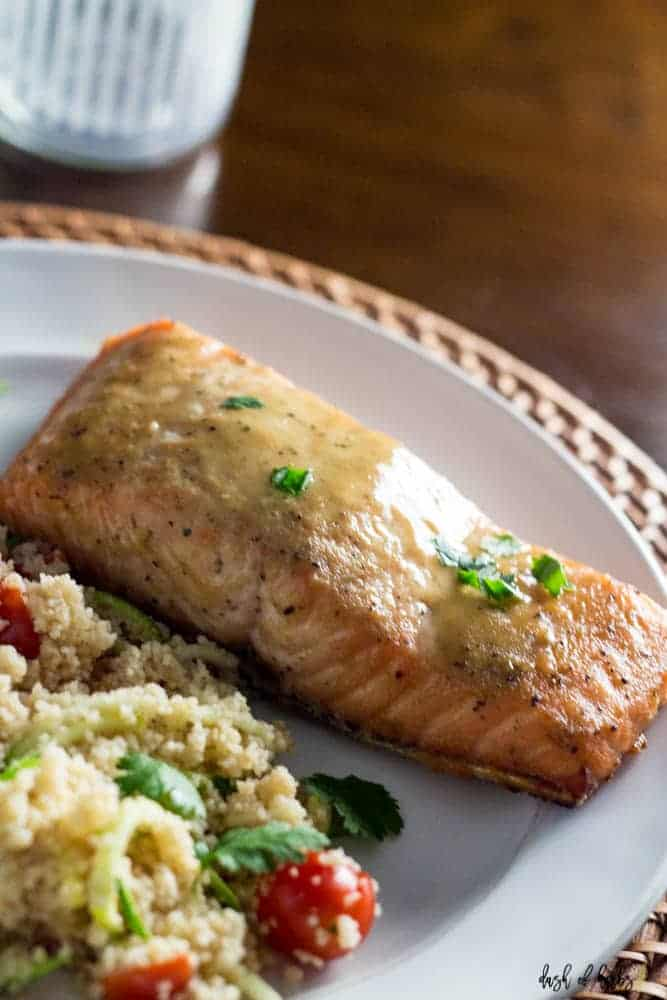 Honey Dijon Salmon with Veggie Couscous