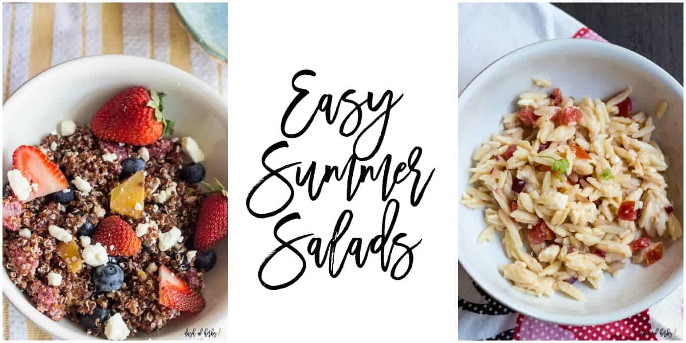 This is a list of easy summer salads you can make yourself. The left image is a strawberry red quinoa with feta salad. The right image is a tomato and orzo salad.
