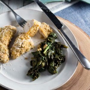 Baked Cornmeal Chicken with Greens