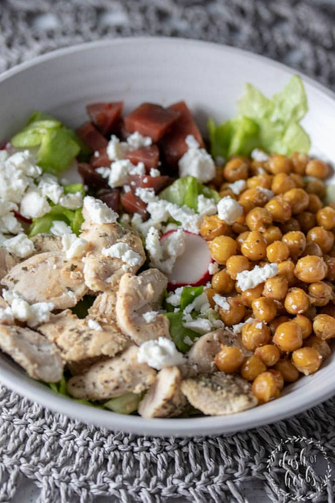 Close up of salad bowl with grilled chicken, beets, roasted chickpeas, radishes and butter lettuce from Blue Apron for WW