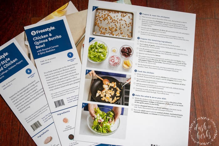 Blue Apron step by step instructions with images.