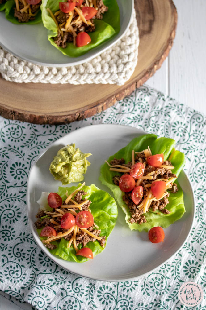 These low carb beef taco wraps are a quick and easy meal option for your family.  These use butter lettuce as the tortilla and are a great addition to your family's Taco Tuesday.